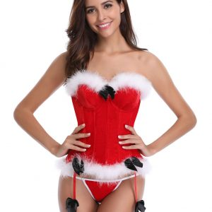Red 12 Plastic Bones Santa Overbust Corset With Thong 6
