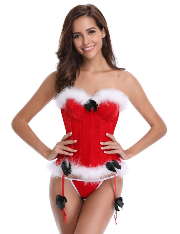 Red 12 Plastic Bones Santa Overbust Corset With Thong 1