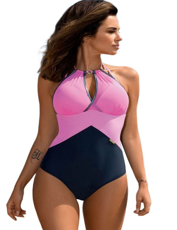 Ravishing Pink One-Piece Criss Cross Bikini Swimwear 1