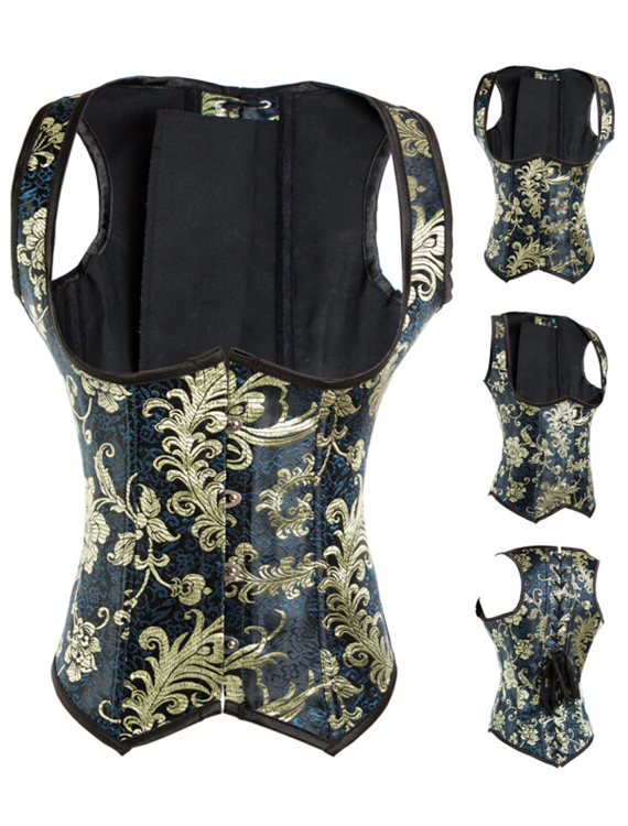 Elegant Black and Golden High-End Printing Corset 1