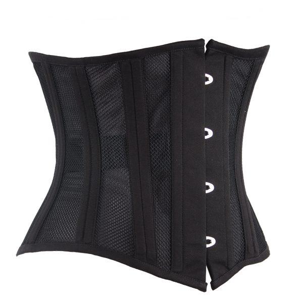 Black 24 Steel Boned 4 Hook Plus Size Women Corset 3
