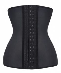 Cheap 9 Steel Boned Black Latex Waist Cincher Corset Bustiers