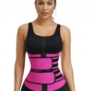 Highest Compression Rose Red Double Belts Waist Cincher Rubber