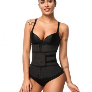 Instantly Slims Black Zipper Hook Latex Waist Shaper Queen Size