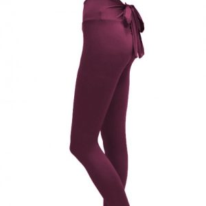 Adjustable Wine Red Bowknot Mid Rise Tights Hip Lift Moisture Management
