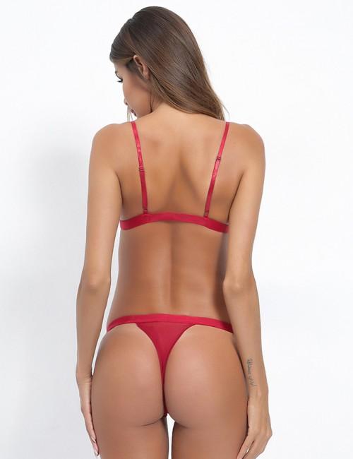 Beautiful Red Flower Slender Straps Bralette Set Plain For Couple