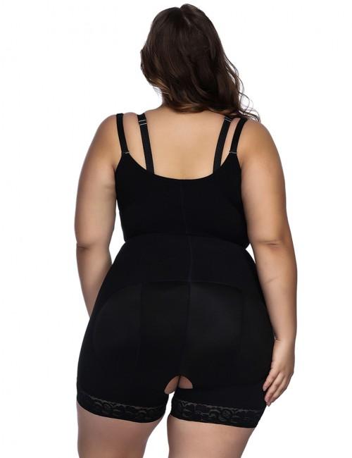 Black Underbust Bodysuits Boyshort Open Crotch Slimming Belly