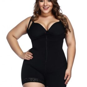Black Underbust Bodysuits Boyshort Open Crotch Slimming Belly