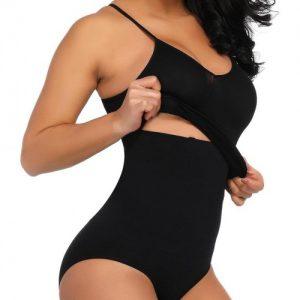 Body-Hugging Black 4 Steel Bones Shaping Vest High Waist Panty Potential Reduction