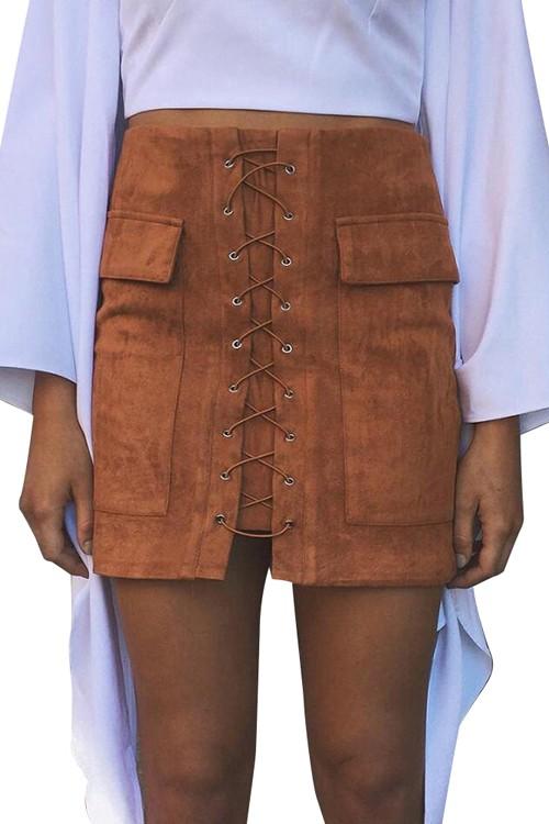 Brown 90's Vintage Pocket Preppy Short Skirt Winter High Waist Casual Skirts