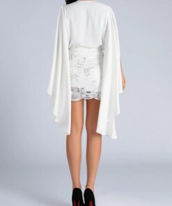 Close Fitting White 2 Pieces Cape Sleeves Top Lace Skirt Feminine Fashion