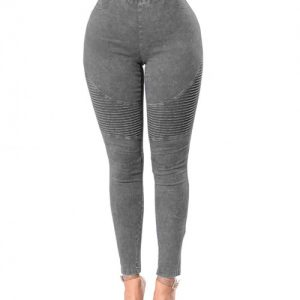 Comfortable Solid Grey Elastic High Waist Jeans Butt Enhancer