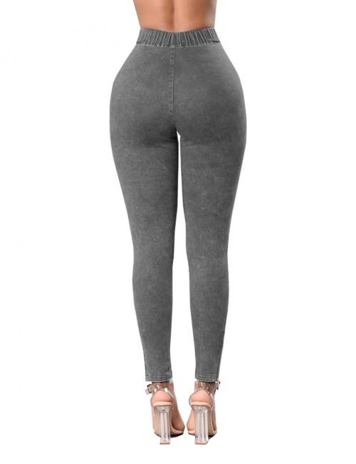 Comfortable Solid Grey Elastic High Waist Jeans Butt Enhancer