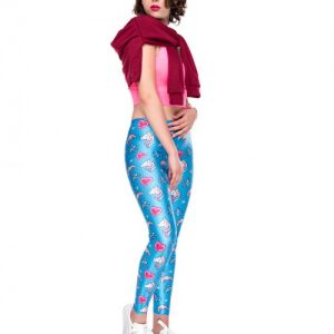 Delicate Blue 3D Digtal Print Cropped Tights Mid Waist Slim