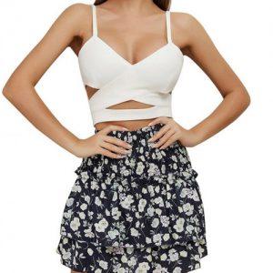 Feminine Curve Blue High Waist Pleat Floral Skirt Layers Best Materials