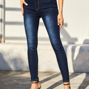 Flexible Blue Hight Waist Jeans Button With Pockets