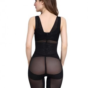 Instantly Slims Print Black Bodysuit Gather Plus Size Open Butt Distinctive Look