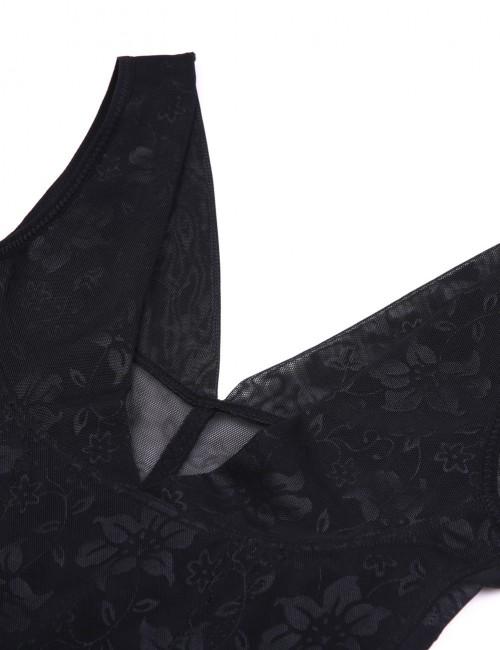 Instantly Slims Print Black Bodysuit Gather Plus Size Open Butt Distinctive Look