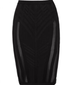 Liberty Black High Waist Bandage Pencil Skirt Breathable