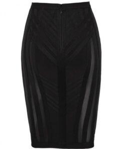 Liberty Black High Waist Bandage Pencil Skirt Breathable