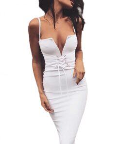 Maiden White Buttonhole Bandage Dress With Waist Girdle Ladies