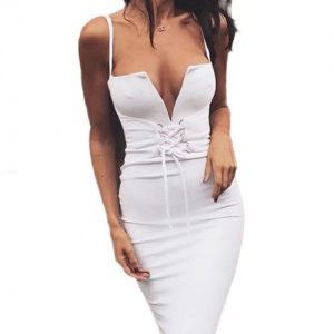 Maiden White Buttonhole Bandage Dress With Waist Girdle Ladies