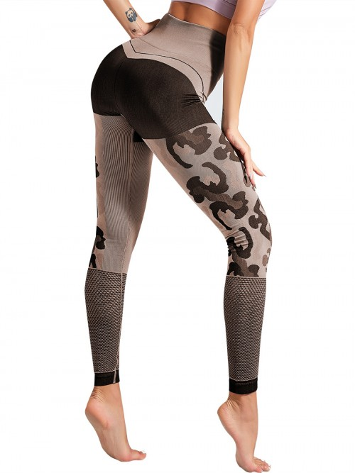 Powerful Brown Ankle Length Mesh Leggings Seamless Form Fitting