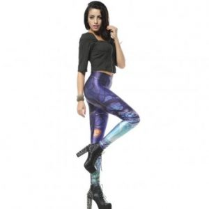 Purple and Blue Stretchy Casual Leggings