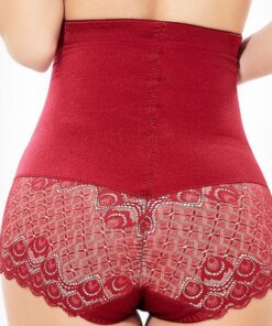 Slim Red Big Size Butt Lifting Panty Solid Color High-Waisted Moderate Control