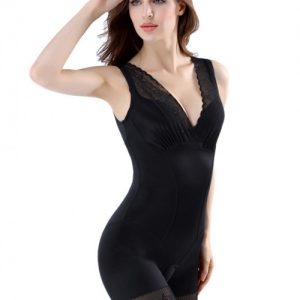 Staple Black Big Bodysuit Butt Lifter Slim Fit Open Crotch