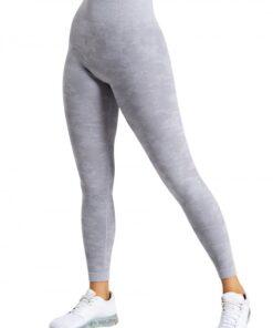 Appealing Light Grey Sports Leggings High Waist Seamless Outdoor Activity