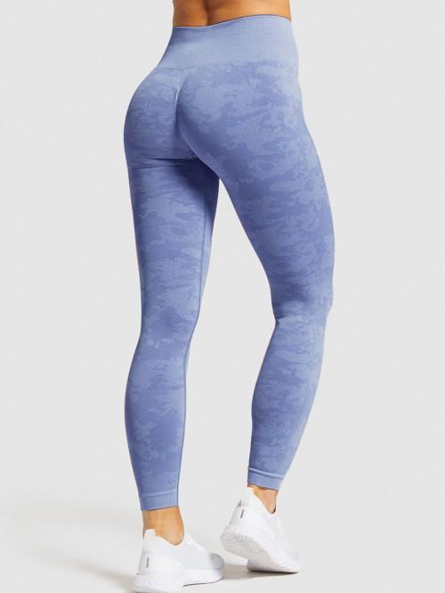 Appealing Blue Sports Leggings High Waist Seamless Outdoor Activity