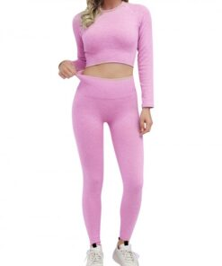 Appealing Purple Seamless Long Sleeve Sweat Suit Cropped