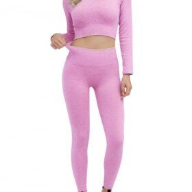 Appealing Purple Seamless Long Sleeve Sweat Suit Cropped