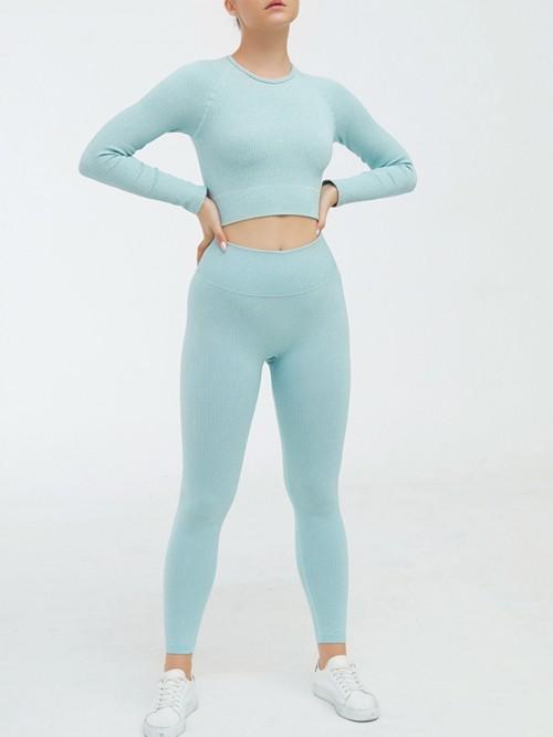 Appealing Blue Seamless Long Sleeve Sweat Suit Cropped