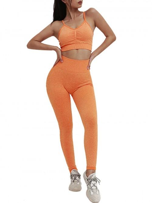 Astonishing Orange Adjustable Strap Cropped Sweat Suit