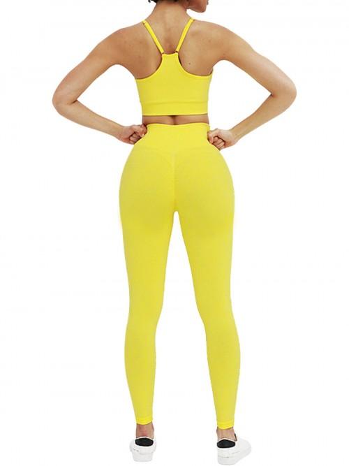Astonishing Yellow Adjustable Strap Cropped Sweat Suit