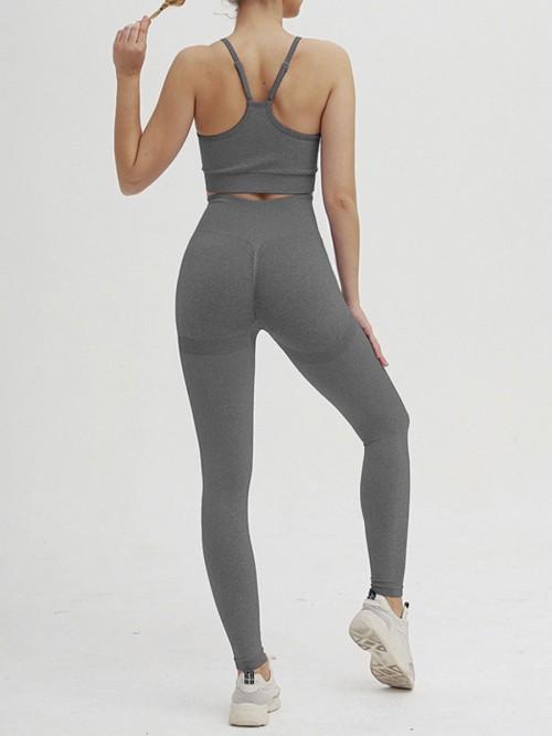 Astonishing Deep Gray Adjustable Strap Cropped Sweat Suit