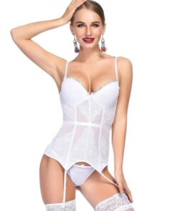 Attractive White Bowknot Corset G-String Lace Patchwork