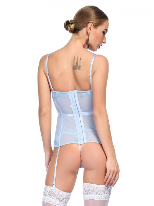 Attractive Blue Bowknot Corset G-String Lace Patchwork