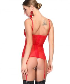 Attractive Red Bowknot Corset G-String Lace Patchwork