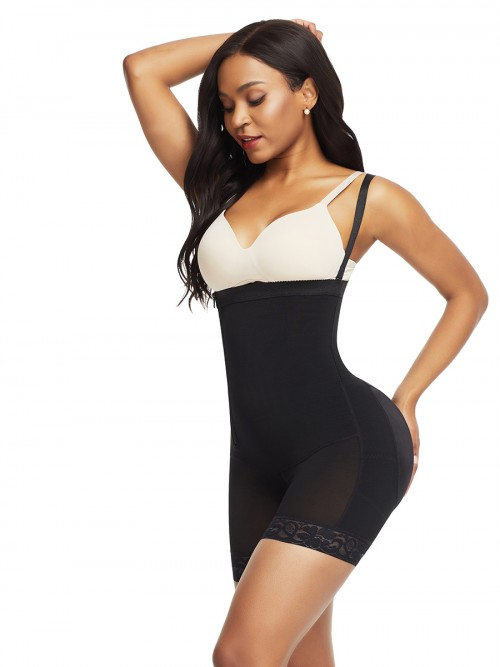 Bandage Black Detachable Straps Side Zip Body Shaper Ultra Cheap