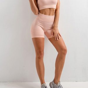 Beautifully Designed Pink Sling Yoga Top Mid Thigh Shorts Suit