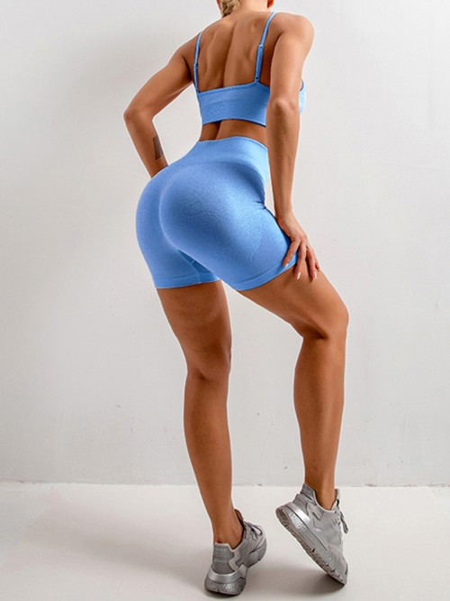 Beautifully Designed Blue Sling Yoga Top Mid Thigh Shorts Suit