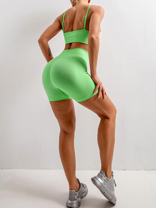 Beautifully Designed Green Sling Yoga Top Mid Thigh Shorts Suit