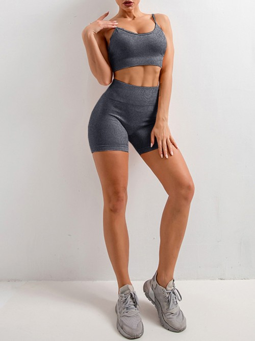 Beautifully Designed Grey Sling Yoga Top Mid Thigh Shorts Suit