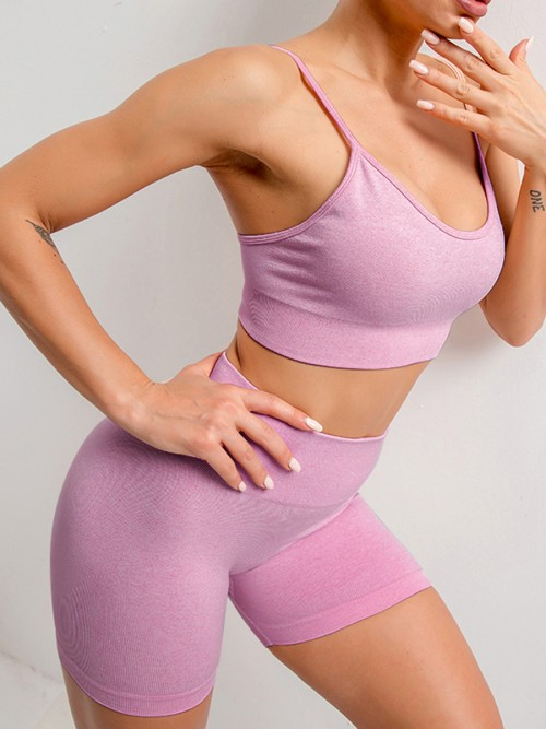Beautifully Designed Purple Sling Yoga Top Mid Thigh Shorts Suit