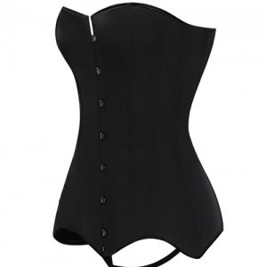 Black Back Tie Corset With Thong Large Size Highest Compression
