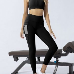 Black Backless Yoga Legging Suit With Pocket Workout Apparel
