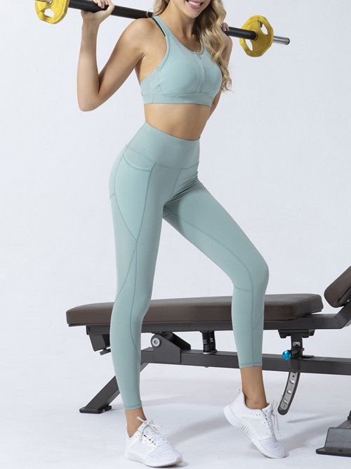 Green Backless Yoga Legging Suit With Pocket Workout Apparel